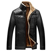 Jacket men casual winter thicken warm leather jackets male parka men jackets and coats winter down coat