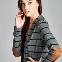 Charcoal Stripe Elbow Patch Cardigan