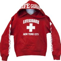 Lifeguard Kids New York City NY Life Guard Sweatshirt Red X-Small (2-4)