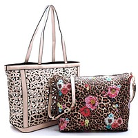 Special SALE! 2 in 1:  Laser Cut Out Beige Leather Shopper and Leopard Cross Body Bag