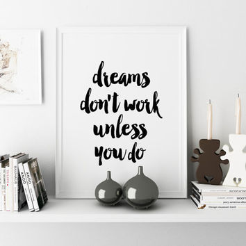 """Inspirational Poster """"Dreams Don't Work Unless You Do"""" Typography Print Office Wall Art Affiche Scandinave Instant Download Watercolor Print"""