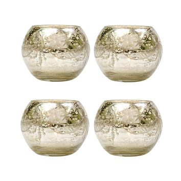 4 Pack | Vintage Mercury Glass Globe Candle Holders (3-Inch, Mary Design, Silver) - For use with Tea Lights - Home Decor, Parties and Wedding Decorations