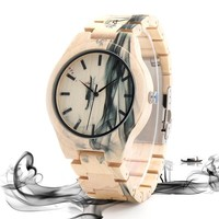 Maple Wood Watch for Men Pine Band Top Brand Luxury Wash Painting Quartz Watches in Wooden Box