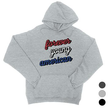 365 Printing Forever Young American Womens Hooded Sweatshirt For 4th of July