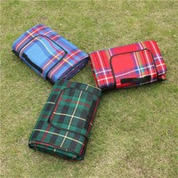 Plaid Outdoor Folding Beach Blanket for Easy Carrying