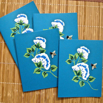 Hand Painted All Occasion Note Cards With Blue and White Flowers