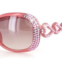 Amazon.com: Wildhearts Designer-Inspired High Fashion Sunglasses with Dozens of Genuine Swarovski Crystals in Heart-Shaped Pattern For Stylish, Sexy Women (Pink/Rose): Clothing