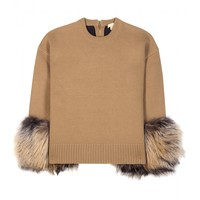 Cashmere and wool-blend fur-trimmed sweater