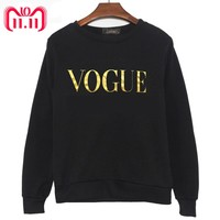 Korean style Winter New Fashion VOGUE Printing solid color Hoodies Women O Neck Pullover Sweatshirt Plus Size GG Women Clothing
