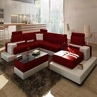 Veritable Colonial Contemporary Leather Sectional Sofa Set