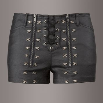 Back in Black Skull Studded Lace Up Shorts