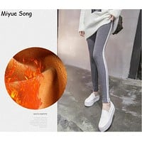 Autumn winter Drawstring High Waist Maternity Leggings for Pregnant Women Doll Pregnancy Leggings Pants Maternity Clothes