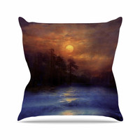 "Viviana Gonzalez ""Hope In The Blue Water"" Brown Orange Outdoor Throw Pillow"