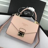 prada women leather shoulder bags satchel tote bag handbag shopping leather tote crossbody 393