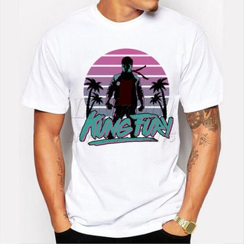New arrivals men's fashion kung fury t-shirt miami cop tee shirts Hipster short sleeve O-neck casual male tops