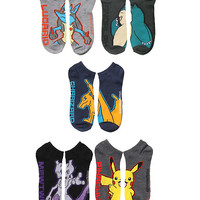 Pokemon Guys Dark No-Show Socks 5 Pair