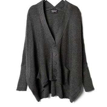Gray Batwing Cardigan with V Neckline in Loose Fit