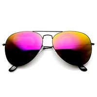 Ultra Thin Metal Frame Aviator Sunglasses With Flash Mirror Lenses 1493