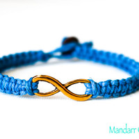 CLEARANCE SALE - Turquoise Infinity Bracelet, Gold Tone Charm, Forever Always, Eternity Bracelet, Hand Knotted Hemp Jewelry