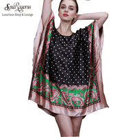 SpaRogerss 2017 Top Summer Style Faux Silk Indoor Clothing Women Pyjamas Women Mini Nightgowns Of Home Clothing For Sleep 10011