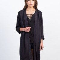 Cuffed Sleeves Trench Jacket