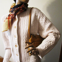 Vintage ivory  LL Bean button down sweater size size x large
