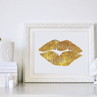 Real Gold Foil Lips Print, Gold Foil, Gold Foil Print, Lips Print, Glamour Wall Art, Fashion Art, Wardrobe Art,  Makeup Print, Wall Art.
