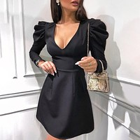 Autumn and winter new fashion slim long-sleeved V-neck dress women Black