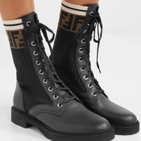Fendi Logo-jacquard Stretch-knit And Leather Ankle Boots #869