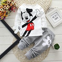 Baby Boy Outfit Childrens Cartoon Print Cotton Long Sleeved T-shirts+Pants 2pcs/set Newborn Baby Girl Clothes Kids Jogging Suits