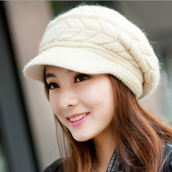 Faux Rabbit Fur Knitted Crochet Beret Hat