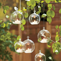Wholesale 24pcs/set 8cm hanging glass planter terrariums,glass ball tealight holders -Wedding or House ornament candlestick