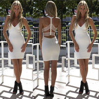 Women Sexy Clubwear Bodycon Sleeveless Bandage Party Evening White Short Dress