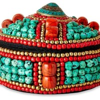 Turquoise/Red Round Beaded Box