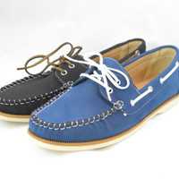 Women's OneOOne Black Navy Blue Boat Loafer Moccasin Oxford Lace Up Flats Shoe