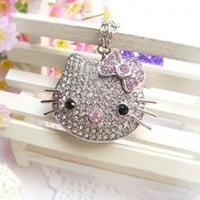 8GB Silver Hello Kitty Crystal with Necklace USB Flash Drive