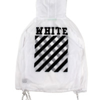 Off White New fashion letter stripe print hooded long sleeve top windbreaker White