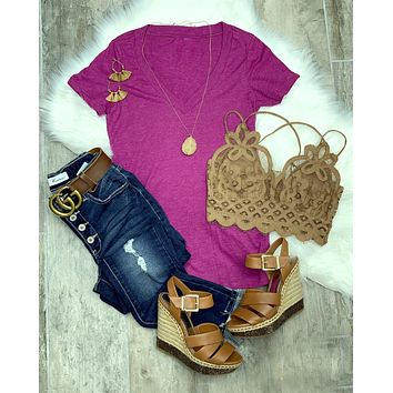 BASIC SHORT SLEEVE DEEP V TEE - BERRY