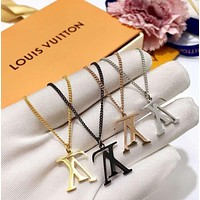 Louis Vuitton classic inverted logo inverted v necklace men and women couple luxury big brand titanium steel necklace