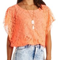Neon Lace Poncho Bubble Top by Charlotte Russe