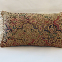 "Colorful Oriental Carpet Style Throw Pillow Red Green Blue Gold Ready Ship Chenille Tapestry Magic Carpet Fringe ( F ) Oblong  12x20""  OOAK"