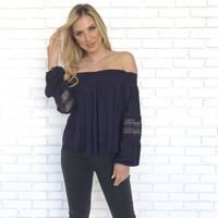Navy Long Sleeve Off Shoulder Top