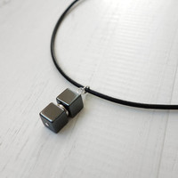 Unisex leather necklace hematite stone pendant black leather cord men women made to order