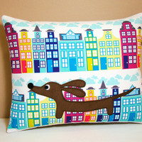 Dachshund Pillow - Doxie in the City