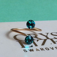 Gold Plated Adjustable Toe Ring made with Blue Zircon Swarovski Crystal Elements
