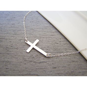 Dainty Sideways Cross Sterling Silver Necklace Simple Jewelry Everyday Necklace / Gift for Her