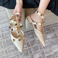 Classic pointed toe rivet flat shoes ladies fashion sandals