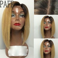 Straight Lace Front Two Tone Short Bob Wig