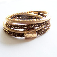 Brown and Gold Leather Wrap Bracelet,  Double Wrap Bracelet, Gold Tube Bracelet, Women Leather Cuff Bracelet