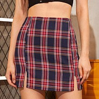 Plaid Side Slit Bodycon Mini Skirt Women Bottoms Streetwear Casual A Line Basic Ladies Sheath Skirts